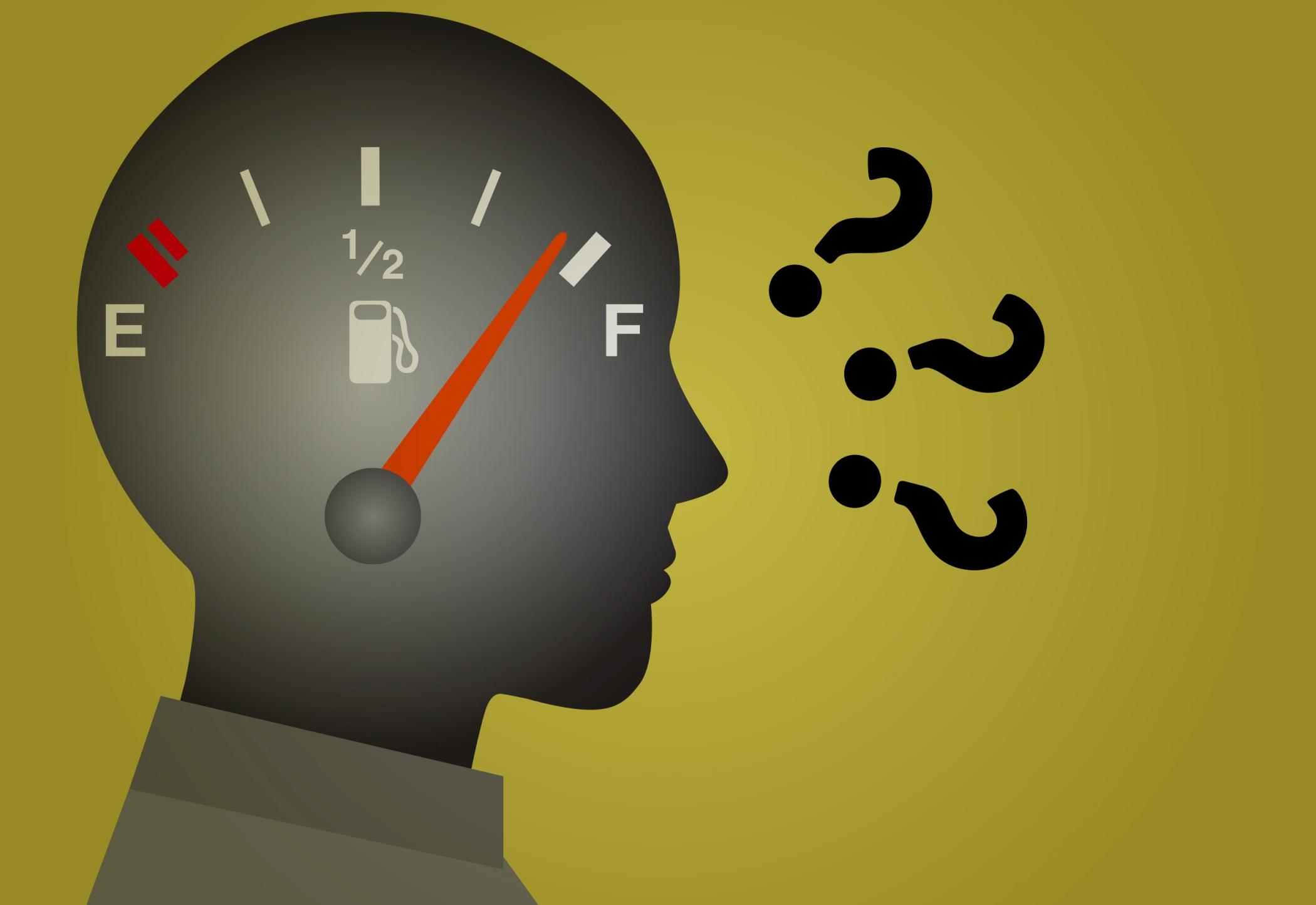 Ilustração de uma pessoa em dúvida sobre o consumo do carro com o marcador de combustível junto