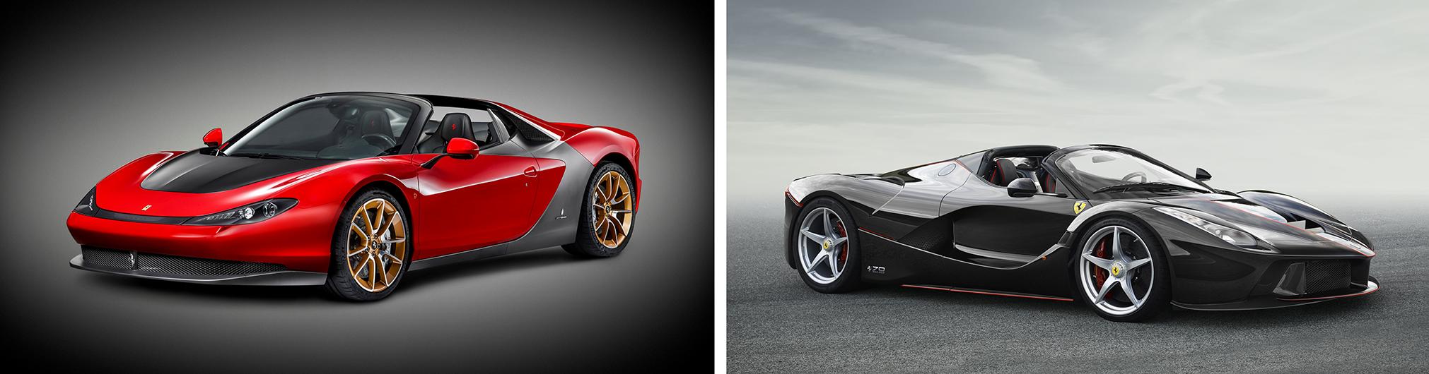 A versão de produção da Ferrari Sergio, em homenagem ao designer Sergio Pininfarina, e a versão conversível da LaFerrari exibida no Salão do Automóvel de Paris de 2016 (Ferrari/Divulgação)
