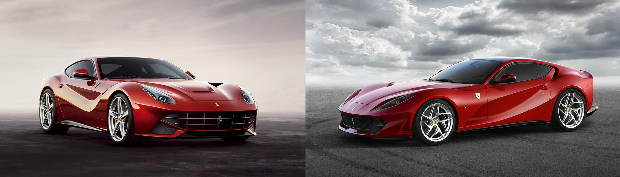 """À esquerda, a """"última Pininfarina viva"""" da Ferrari: a F12berlinetta, de 2012. Sua sucessora, a 812 Superfast (à dir.), foi apresentada no Salão de Genebra deste ano (Ferrari/Divulgação)"""