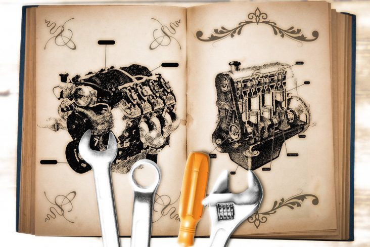 ilustra motor a combustao moderno arcaico