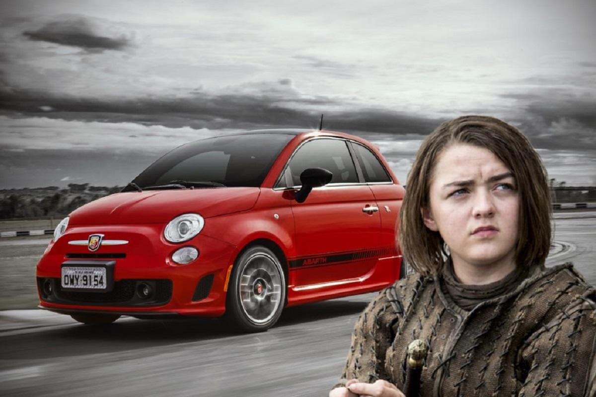 Arya Stark é um 500 Abarth. (Bárbara Angelo | AutoPapo). Transformamos reis, rainhas, anão, eunuco e companhia em carros enquanto aguardamos pelo episódio final de Game of Thrones.