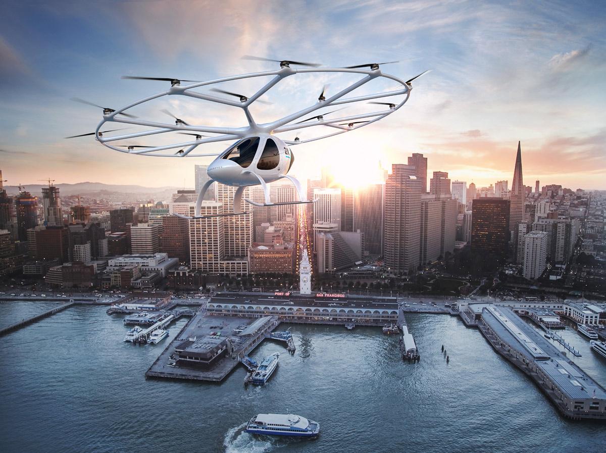 """Resultado de imagem para """"táxi aéreo"""" Daimler, um carro com 18 rotores"""