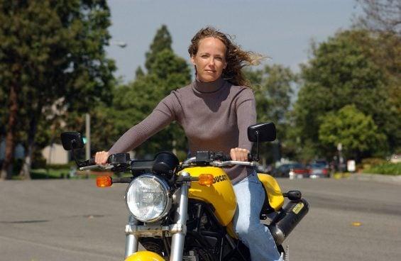 tisha johnson on her bike outside vmcc 2004