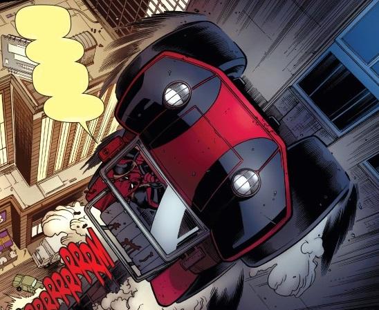 Carro do Homem-Aranha Peter Parker guiado por Deadpool