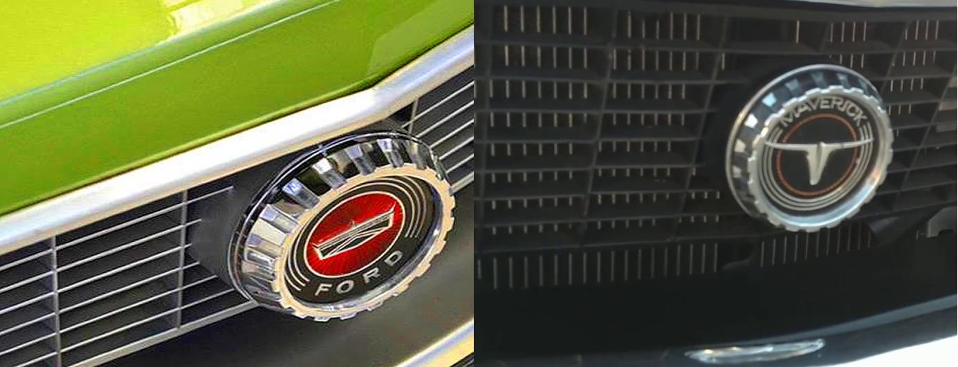 Emblemas do Ford Maverick brasileiro e americano