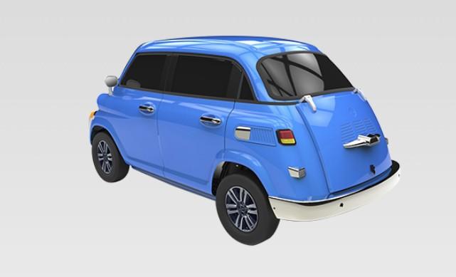 """Fabricante chinesa Suzhou Eagle lança modelo """"inspirado"""" em clássico da BMW. """"Novo Isetta"""" é elétrico, tem quatro portas e deve custar quatro mil dólares."""