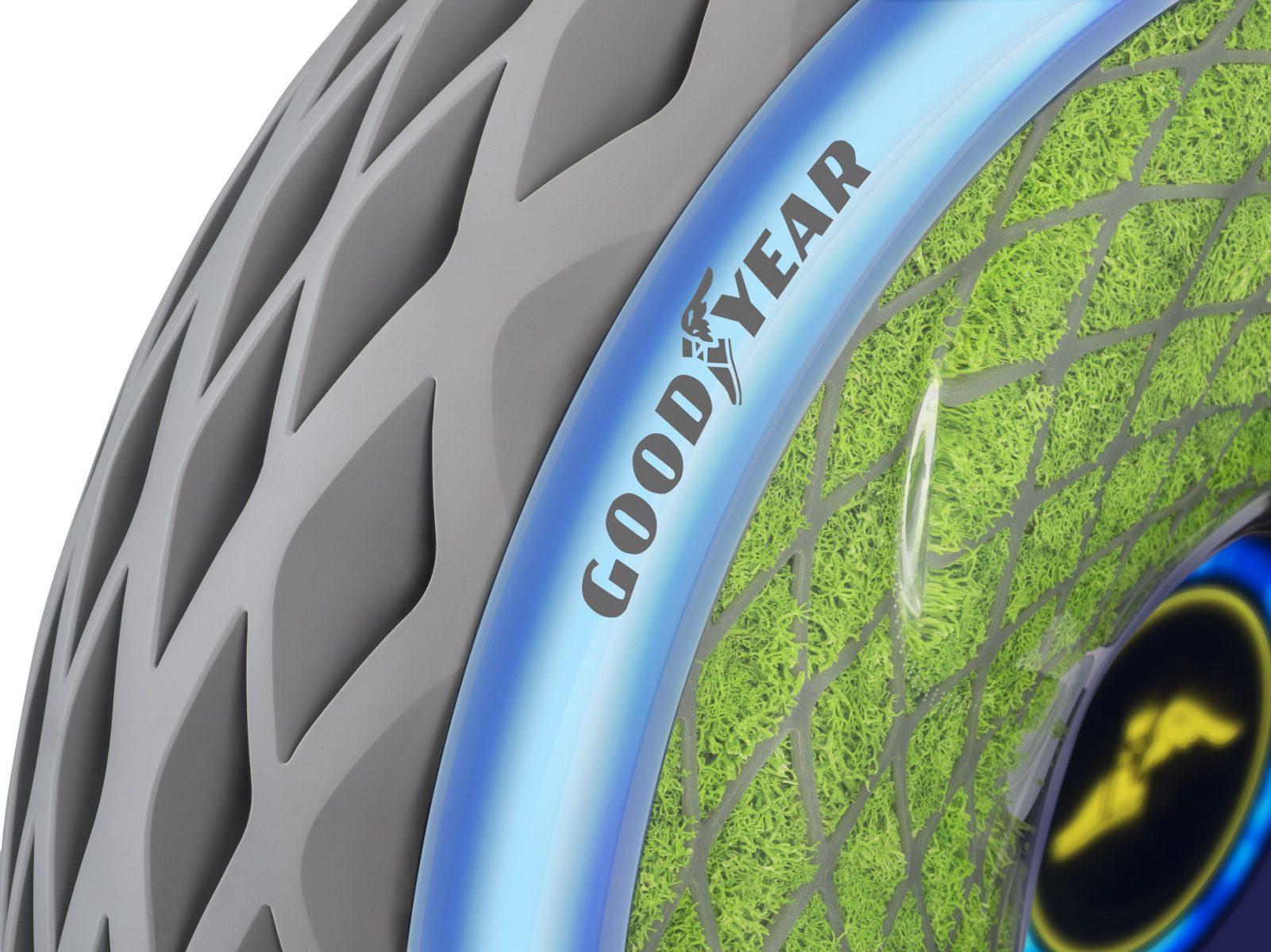 A Goodyear apresentou, no Salão de Genebra, o conceito de um pneu com mofo que absorve poluentes da atmosfera e produz oxigênio.