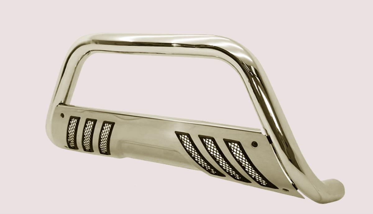 Quebra-mato para se colocar em picapes ou carros aventureiros na cor prata em detalhe