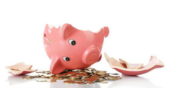 cofre porquinho quebrado economia