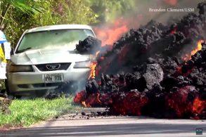 [Vídeo] Lava derrete carro no Havaí
