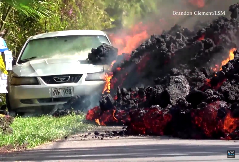lava de vulcão mustang lava derrete carro
