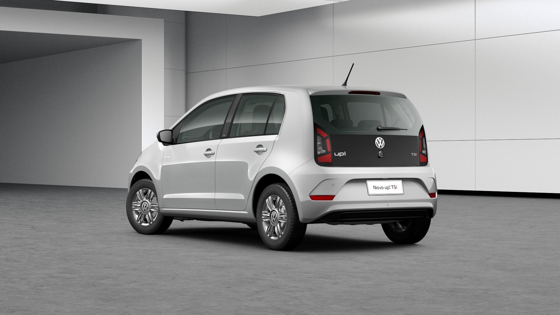 VW up! TSI na cor prata com a traseira em detalhe