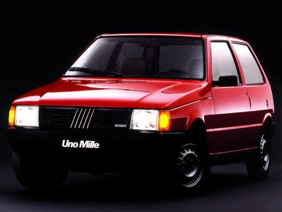 fiat uno mille 1990 vermelho de frente