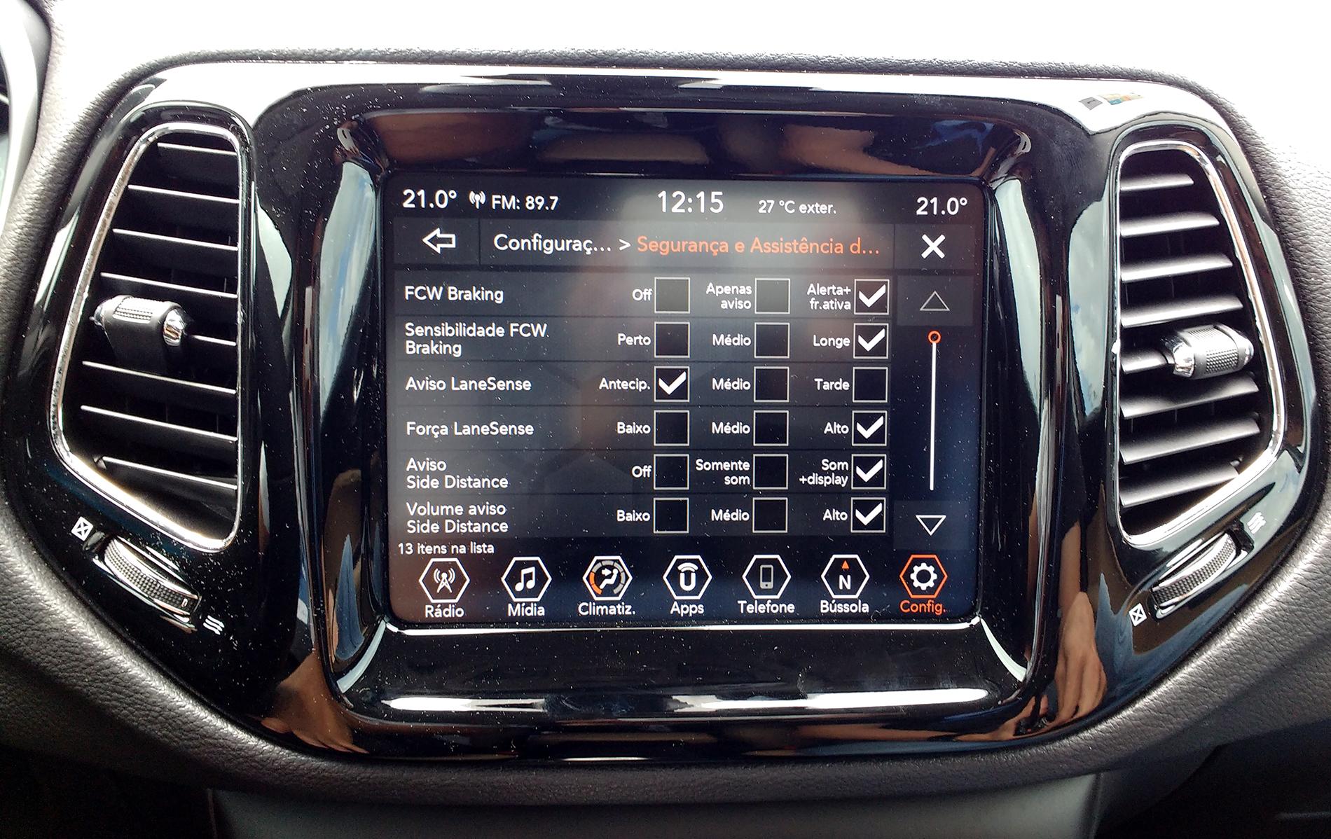painel de configuracao jeep compass technoday