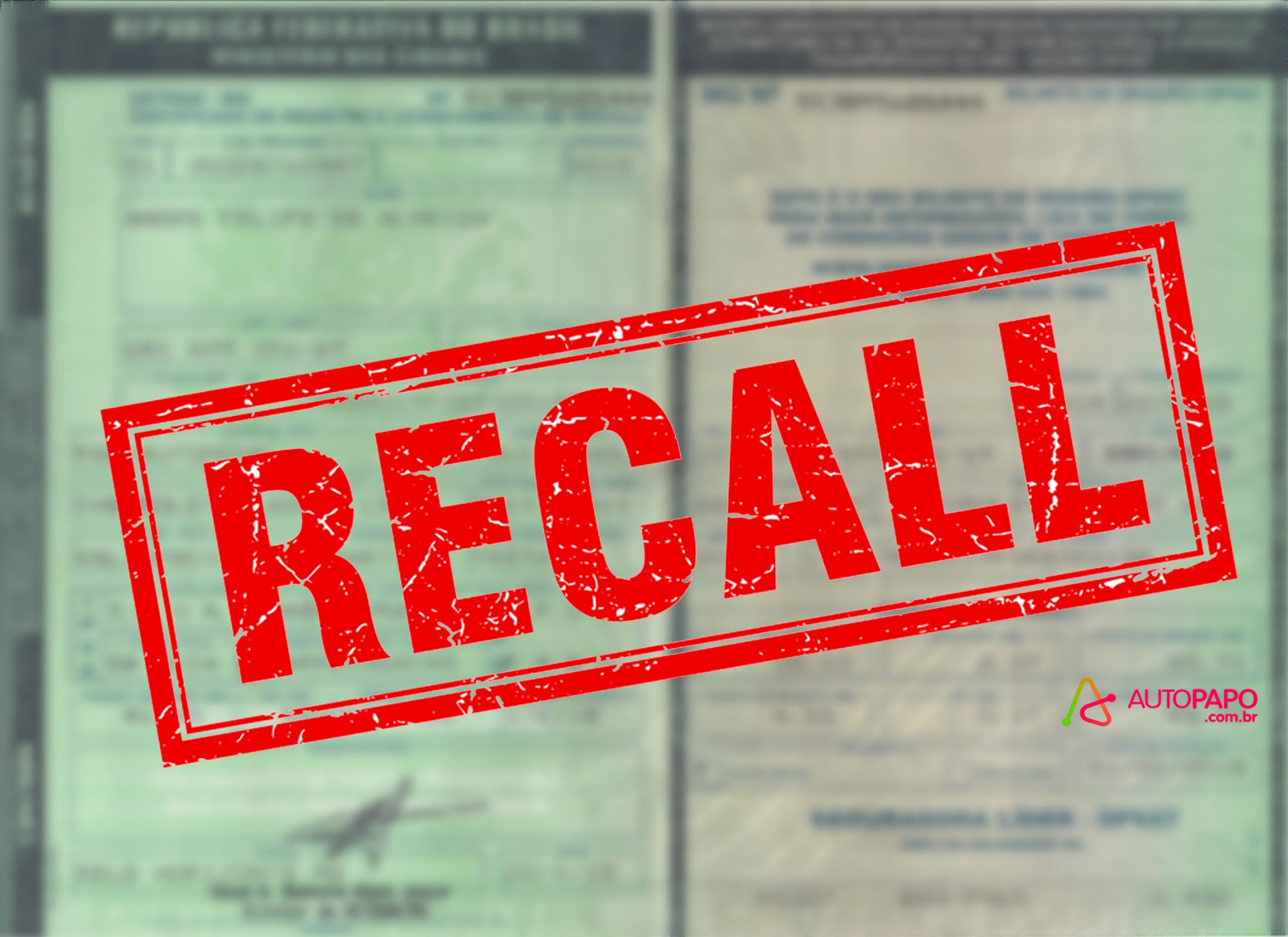 Recall no documento do veículo