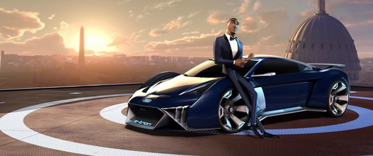 O carro conceito de desenho animado RSQ e-tron será o veículo de Lance Sterling, dublado por Will Smith, em O Espião Animal, do estúdio Fox.