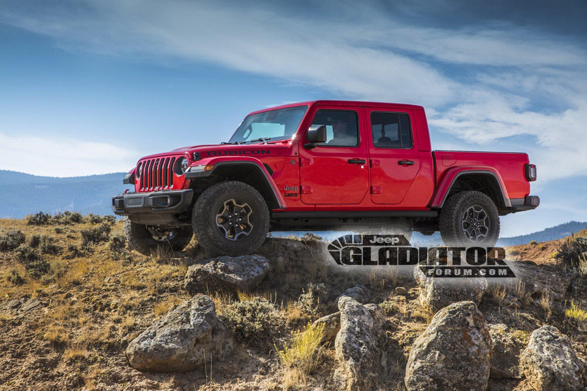As primeiras imagens oficiais da configuração picape do Jeep Wrangler, a Gladiator, vazaram na internet junto com especificações técnicas do modelo.