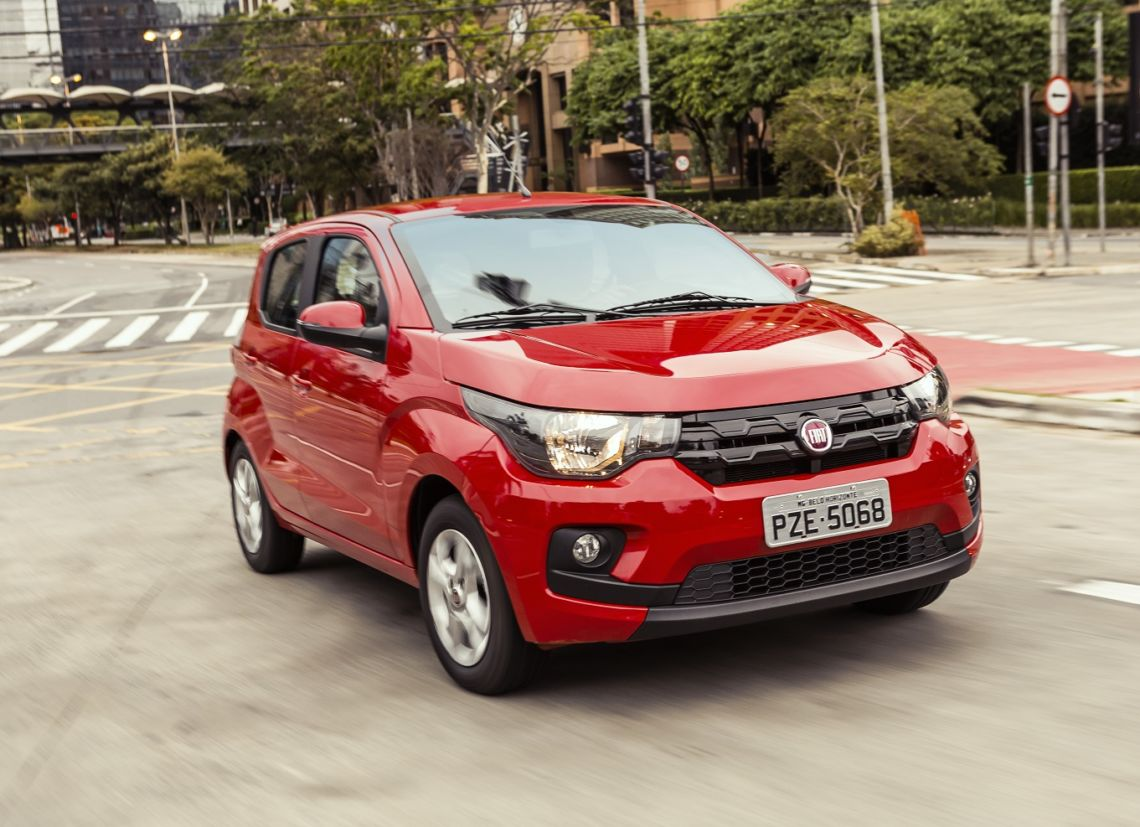 mobi drive visto de frente: carro mais econômico da Fiat no Brasil