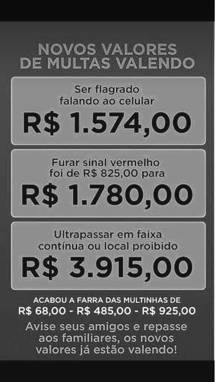 Circula nas redes sociais uma imagem que alerta sobre os novos valores das multas de trânsito. Desmentimos a notícia falsa e revelamos os preços reais.