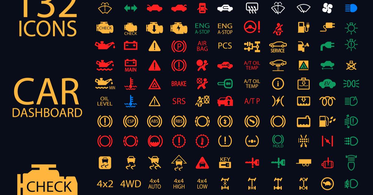 Luzes acesas no painel dos carros usados