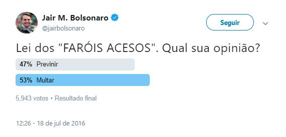 bolsonaro enquete farol rodovia
