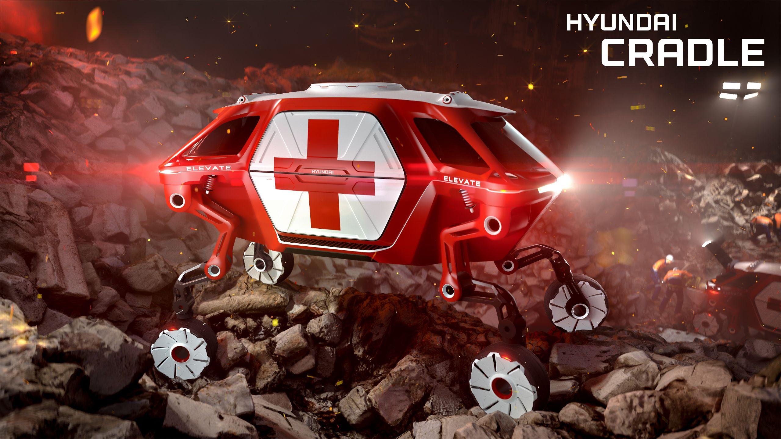 A Hyundai apresenta, na CES 2019, a evolução do carro para estrada de terra e terrenos acidentados. O Elevate é capaz de rodar e até mesmo escalar.