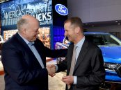 DETROIT, MI., January 14, 2019--Jim Hackett, president and chief executive officer, Ford Motor Company, and Herbert Diess, chief executive officer, Volkswagen Group, tour the Ford display at the 2019 North American International Auto Show. The two companies will hold a joint conference call Tuesday, Jan. 15, 2019 at 8:30 a.m. EST to provide an update on their progress of alliance discussions.  Photo by: Sam VarnHagen
