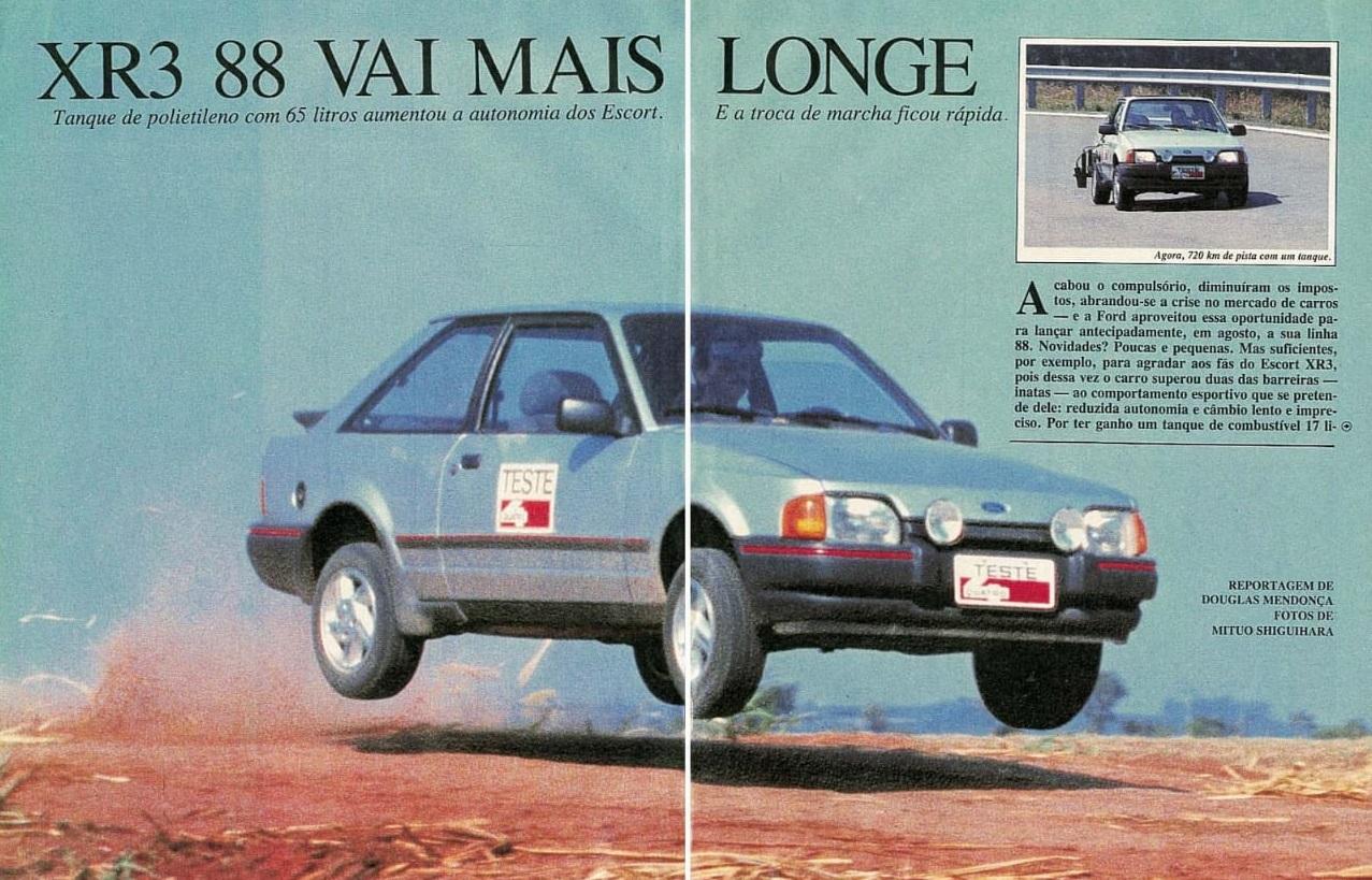 Reportagem com Ford Escort XR3, feita por Douglas Mendonça e publicada na edição de setembro de 1987 da revista Quatro Rodas