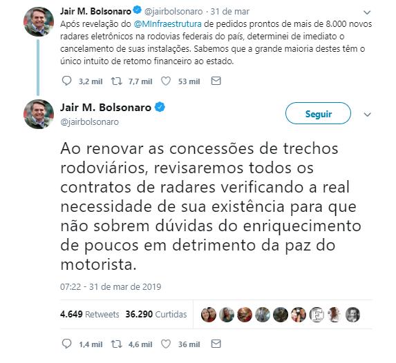 jair bolsonaro cancela radares