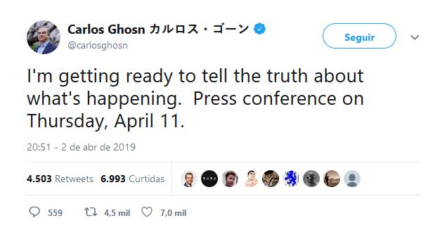 Ex-presidente da aliança Renault-Nissan, Carlos Ghosn foi preso pela quarta vez depois de fazer uma publicação misteriosa em sua conta no Twitter.