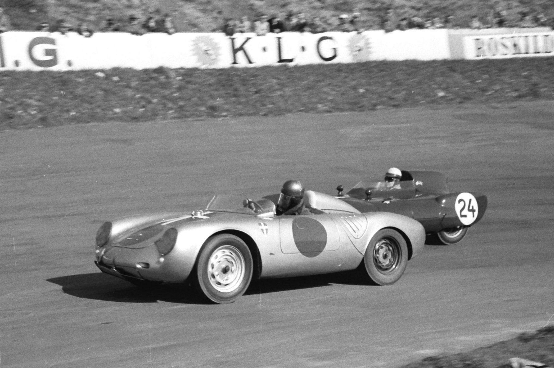 porscge 550 julius voigt nielsen fights gordon jones and his lotus 11 for the lead at roskilde denmark in april of 1957.jpg