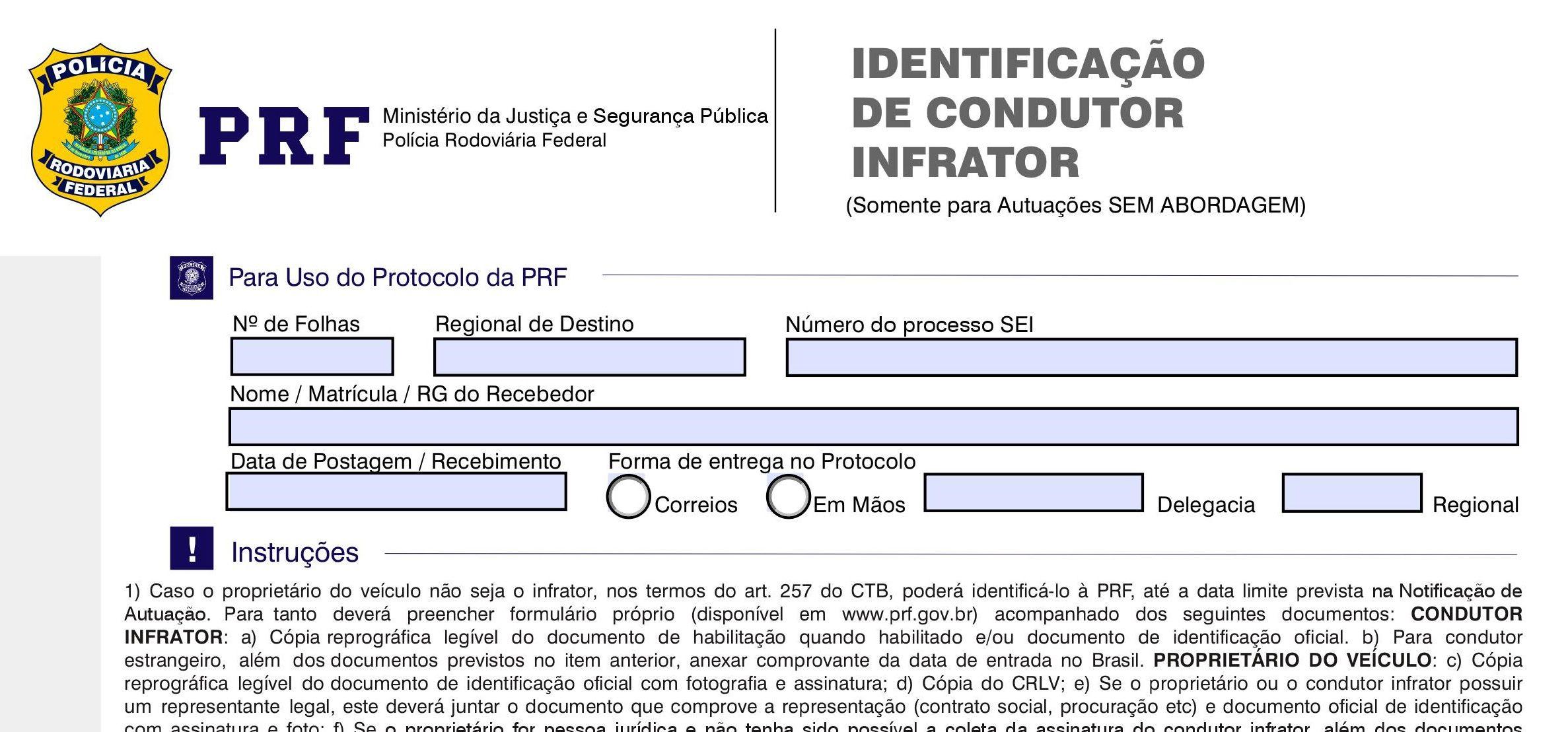 imagem formulario de identificacao do condutor