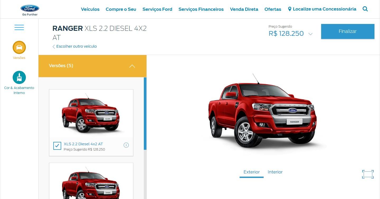 As três opções flex da Ford Ranger desapareceram do site da fabricante. Versão XL, de entrada, também não está mais disponível para os consumidores.