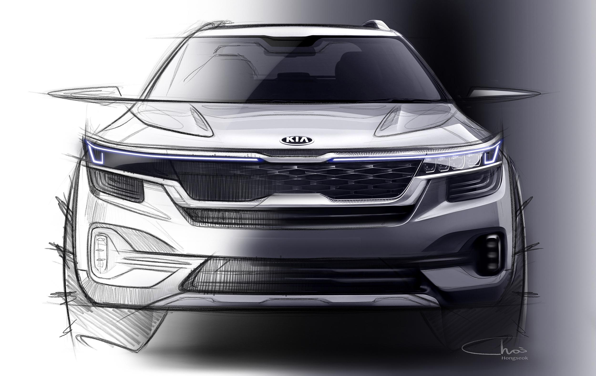 Primeiros esboços do primeiro utilitário compacto da Kia. Primeiro modelo da marca para o segmento é muito parecido com conceito SP Signature e será um lançamento global