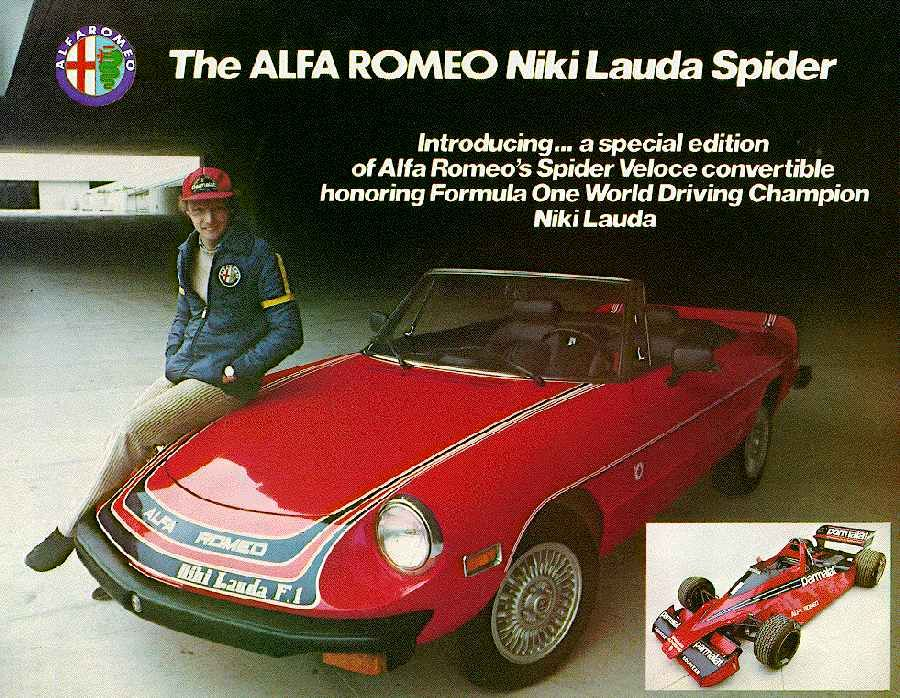 Alfa Romeo Spider teve 350 unidades especiais comemorando a ida do piloto austríaco para a equipe Brabham na temporada 1978 da Fórmula 1.