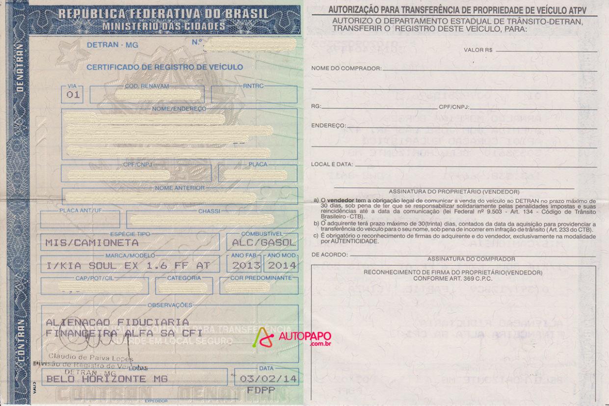 Recibo de compra e venda crv certificado de registro do veiculo