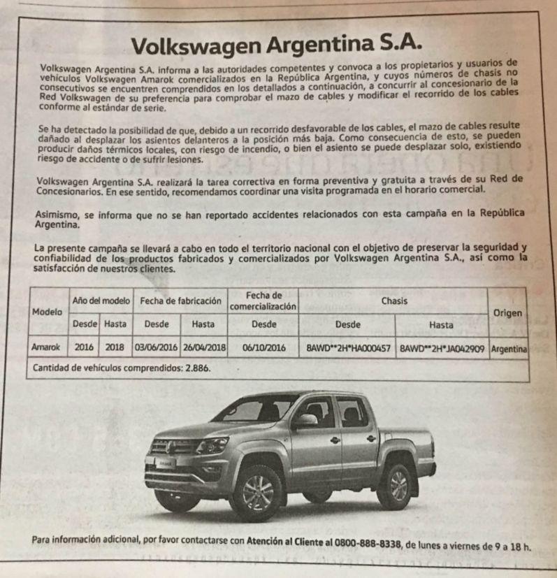 recall vw amarok argentina
