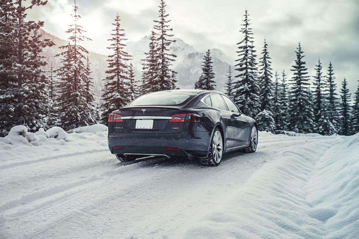 tesla model s grey ms forest snow