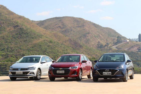 Hyundai HB20S Diamond Plus, Chevrolet Onix Plus Premier e Volkswagen Virtus Highline Beats foto Alexandre Carneiro