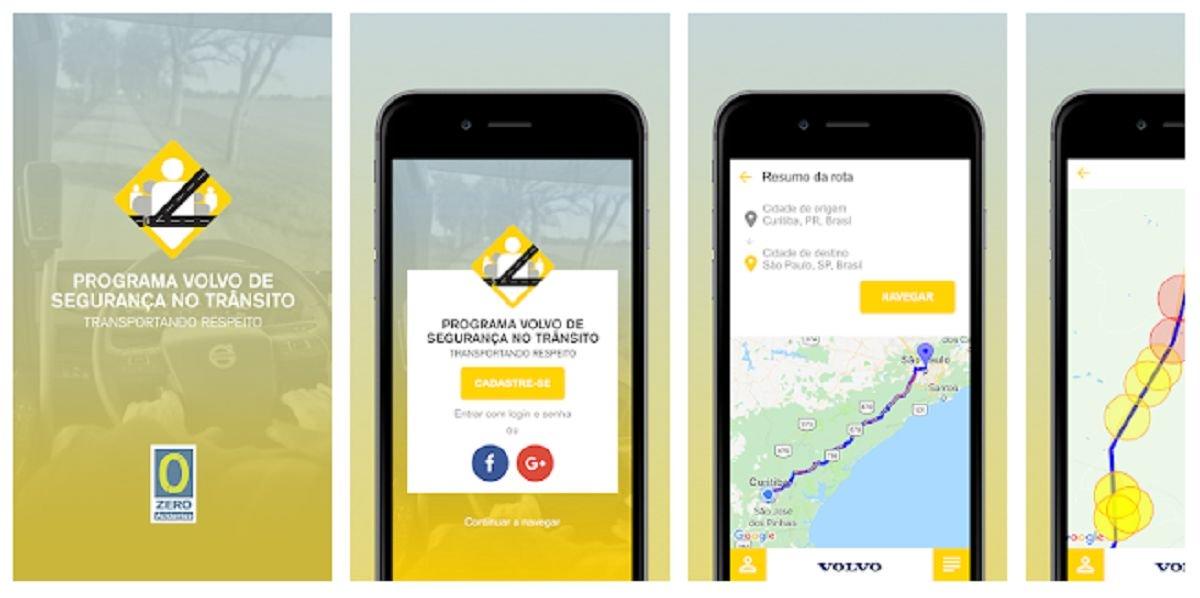 O aplicativo Eu Rodo Seguro usa dados de acidentes para emitir alertas sonoros quando o motorista se aproxima de trechos de perigo na estrada