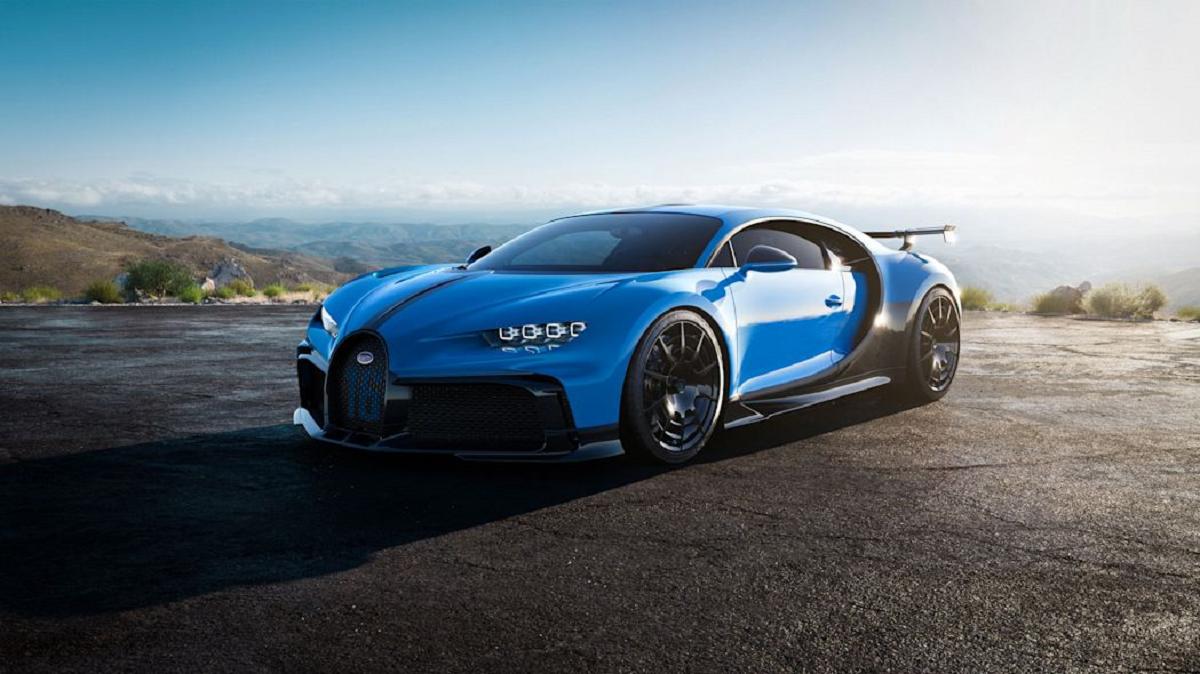 carros esportivos bugatti chrion pur sport azul de frente parado