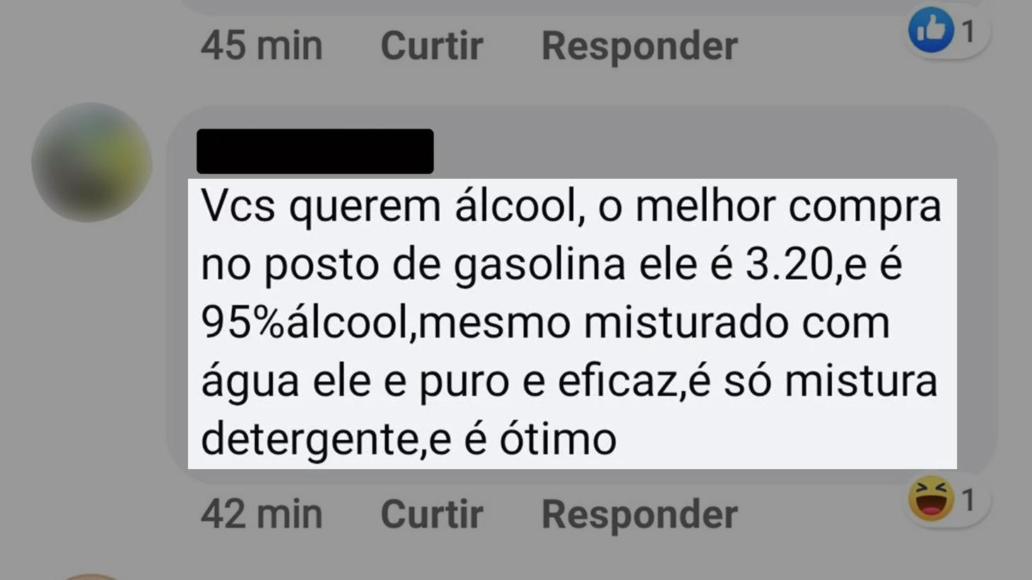 comentario-facebook-etanol Álcool de posto pode ser usado contra o coronavírus?