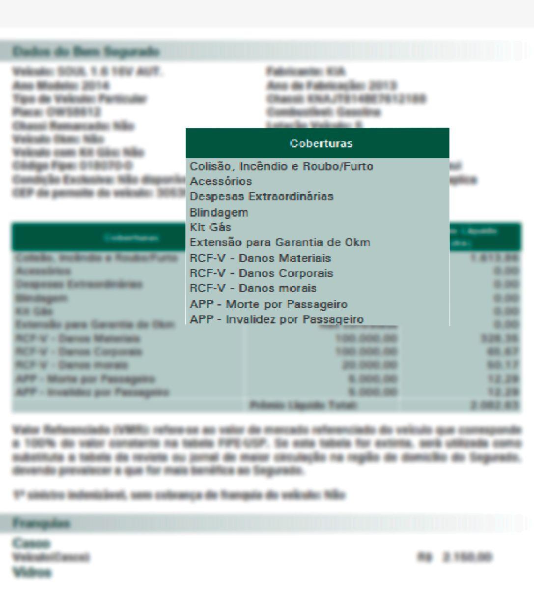 apolice de seguros destaque para coberturas