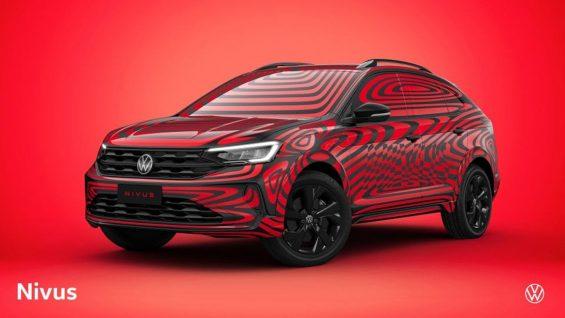 dianteira do volkswagen nivus plotada de preto e vermelho