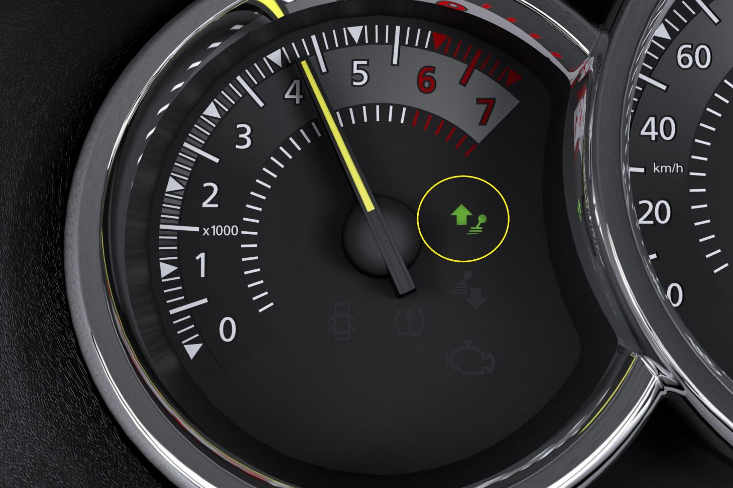 indicador troca marcha logan dynamique em detalhe circulo amarelo economizar combustivel