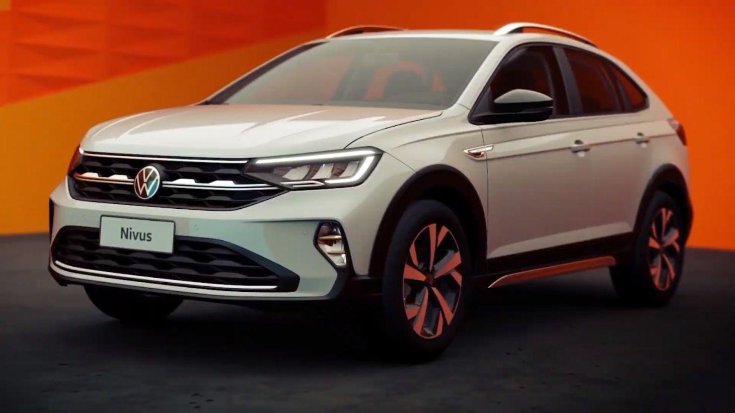 Frente do Volkswagen Nivus revelada na cor branca em detalhe