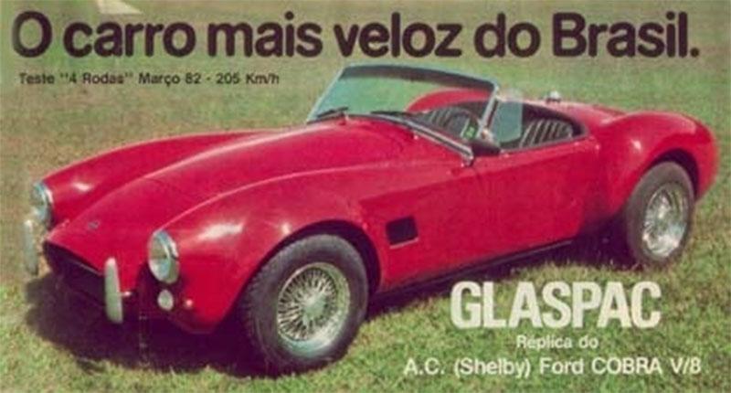 carros artesanais replicas: glaspac cobra vermelho de frente