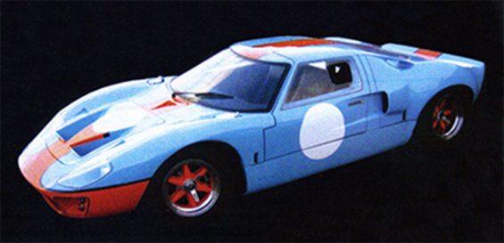 carros artesanais replicas: americar GT40 azul gulf lateral