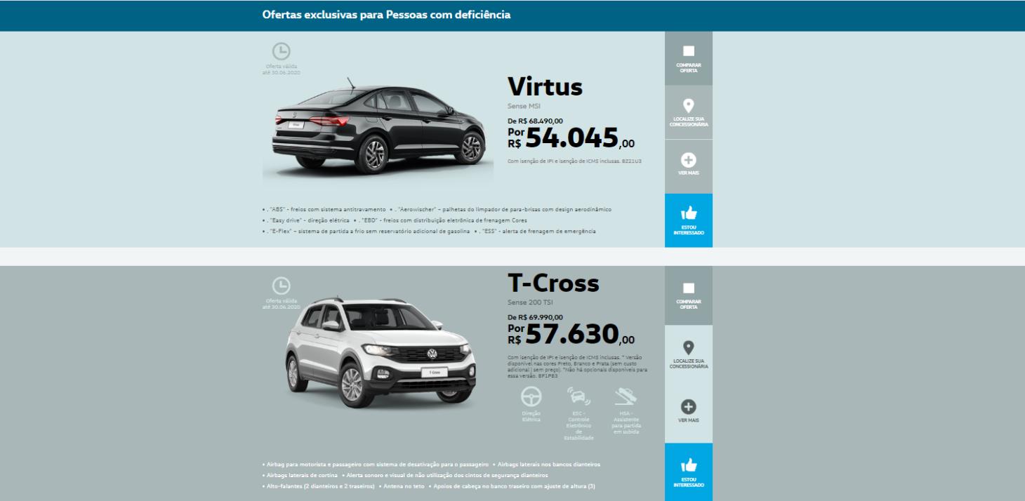 pagina da volkswagen para publico pcd com ofertas de virtus e t cross
