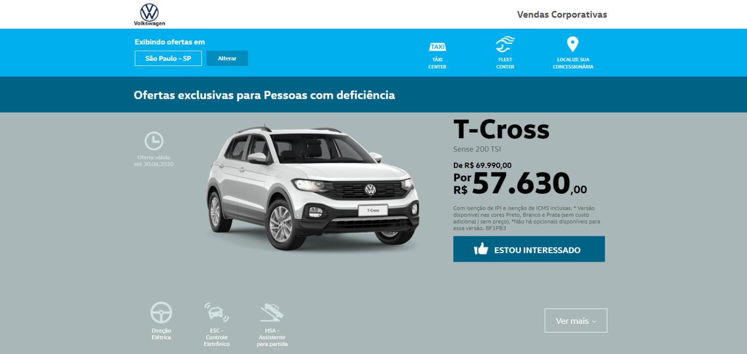 pagina da volkswagen com oferta exclsiva para o t cross sense para pcd